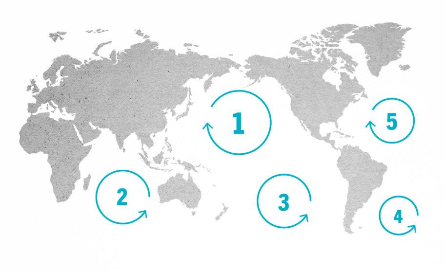 Zone in cui si accumula la plastica a causa delle correnti oceaniche. - 10 Rivers 1 Ocean